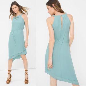WHBM Halter Asymmetric Soft Dress Blue